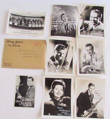 Lot Vtg Chesterfield Cigarette Ad Photos Harry James Musicians Signed Autographs