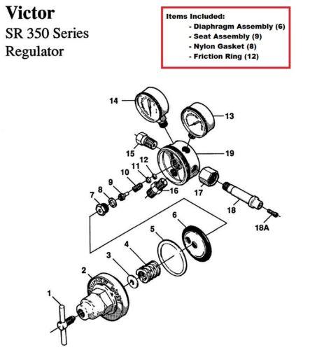 Victor SR350D Oxygen Regulator Rebuild/Repair Parts Kit w/ Diaphragm