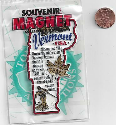VERMONT  MAP  INFORMATION MAGNET in SOUVENIR BAG    EDUCATIONAL  5-COLOR