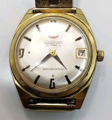 Vintage Mid Century Waltham 17 Jewels Manual Wind Mens Wrist Watch