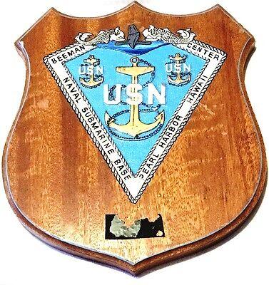 "Vintage 11"" US Navy Wood Mounted Plaque Submarine CPO Mess Pearl Harbor HI"