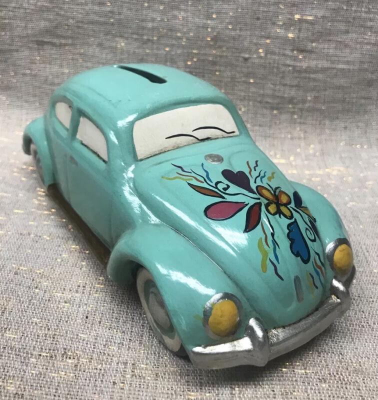 """Volkswagen Beetle Ceramic Piggy Bank 7"""" Hand painted"""
