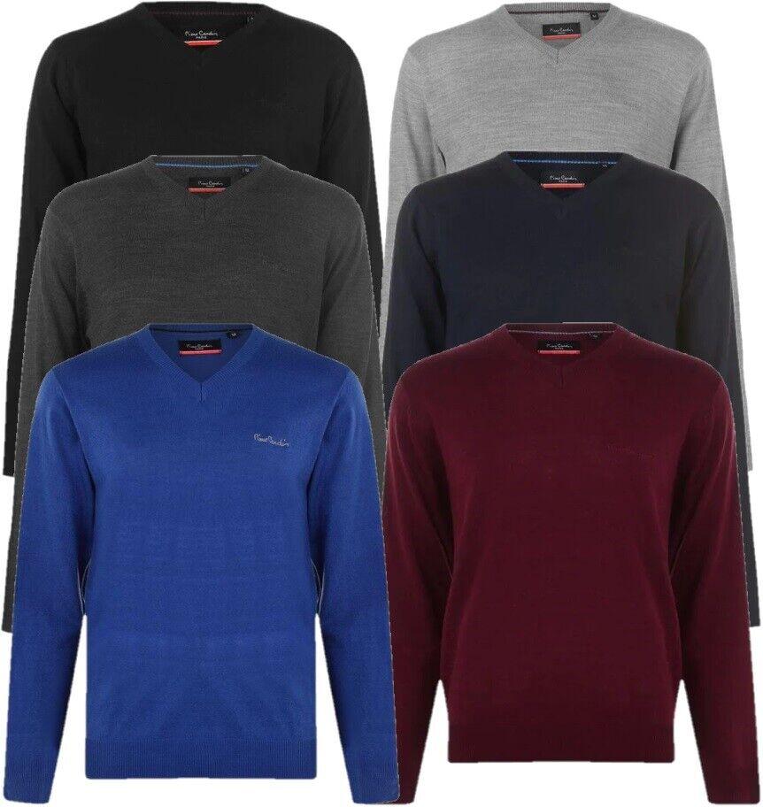 ✅ PIERRE CARDIN Herren Strick Pullover V-Ausschnitt - Sweatshirt Gr. S-4XL NEU