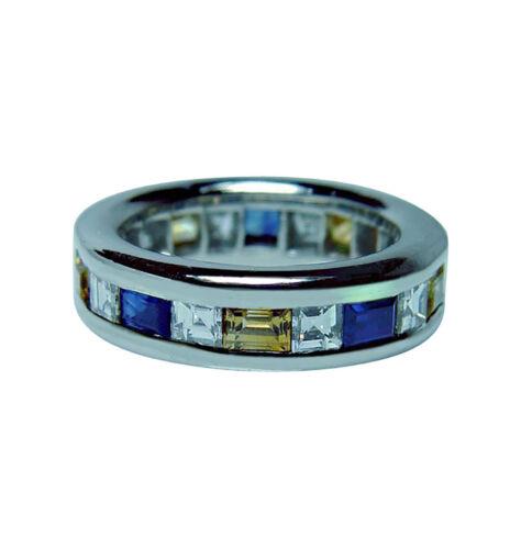 Vintage Platinum Asscher Diamond Sapphire Eternity Ring Estate  Size 5