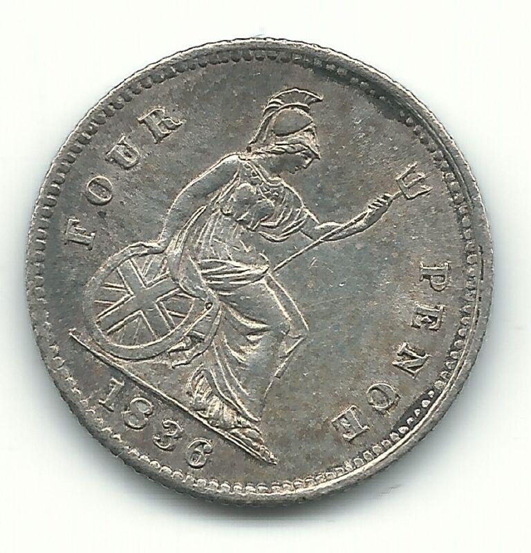 A HIGH GRADE AU 1836 GREAT BRITAIN SILVER GROAT FOUR PENCE-JUN047