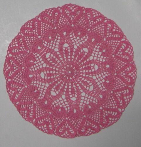 "New Hand Crocheted Rose Pink Sweetheart Round Doily 9.5"" Handmade US"