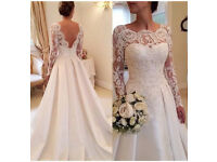 Floral lace tulle sleeve satin wedding dress size 10