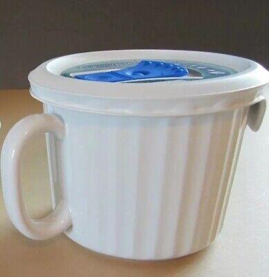 CorningWare French White Pop-Ins 22 oz. Mug with Vented Cover Soup Microwave Corningware French White Pop