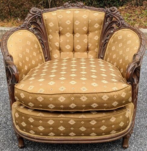 Vintage French Walnut Louis XV Style Bergere Heavily Carved