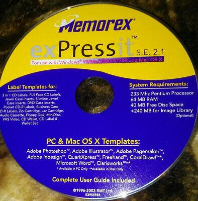 Memorex Expressit S.E. 2.1 (CD-ROM) Label Templates Disc Disc Label Templates