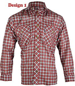 L2 Mens Flannel Lumberjack Check Shirt Brush Cotton Work Shirt