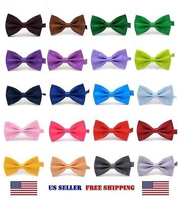 BOW TIE MENS ADJUSTABLE SOLID COLOR WEDDING TUXEDO NECKTIE US SELLER Free - Cheap Bow Ties