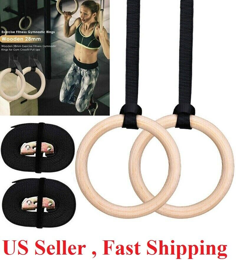 2x32mm Rings Wood Gymnastic Ring Strength Olympic Training Fitness Exercise Fitness, Running & Yoga