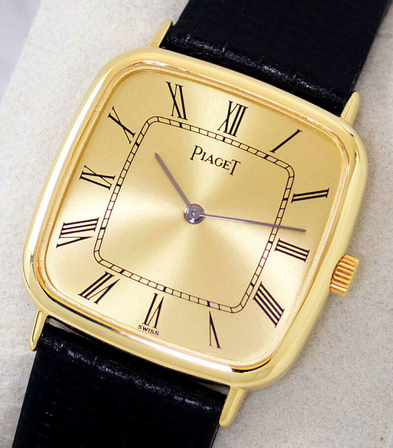 PIAGET MANUAL CAL 9P2 18J 18K GOLD CASE ROMAN GOLD DIAL DRESS WATCH