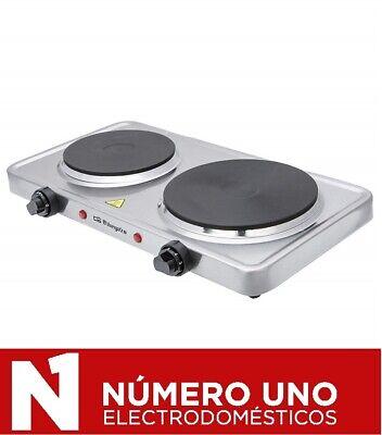 Placa eléctrica portátil Orbegozo PE 2950, Inox, 2 placas caloríficas 1000W y...