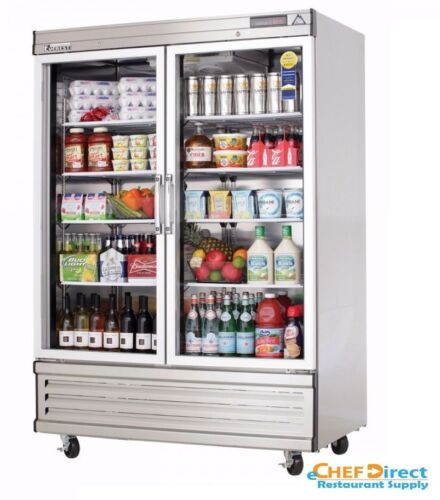 """Everest Ebgr2 54-1/8"""" Two Section Glass Door Upright Reach-in Refrigerator"""
