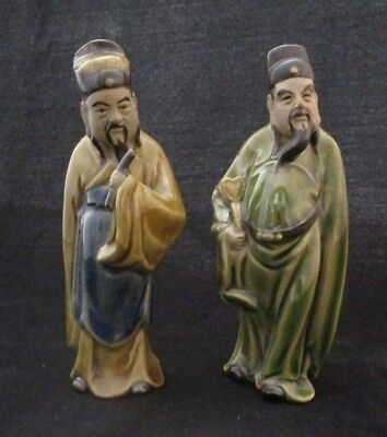 Set of 2 Fine Ceramic Figures of Lucky Gods Hand Crafted Made in China