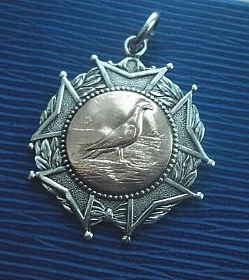 Vintage Sterling Silver & Gold PIGEON Fob Medal h/m 1930 Hexham Northumberland