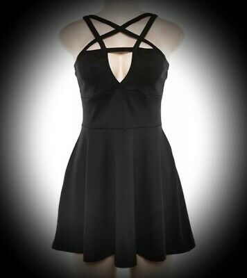 New Black Gothic Pentagram Stretch Sexy Mini Party Club Dress size 2XL 18 20 22