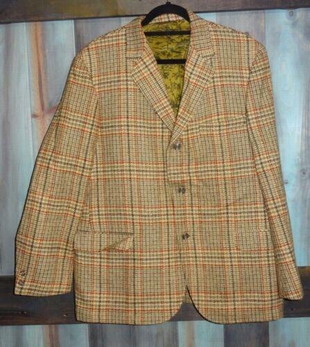 Vintage CLUBMAN Beige Green Rust Plaid Houndstooth Blazer Coat Jacket 42 L XL