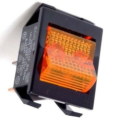 Eaton 2600 LIGHTED Rocker POWER Switch Amber 4-Pole 120V 110V Commercial Grade