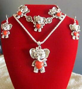 Faux Red Elephant Heart Pendant, Bracelet and Earings - free post Balaklava Wakefield Area Preview