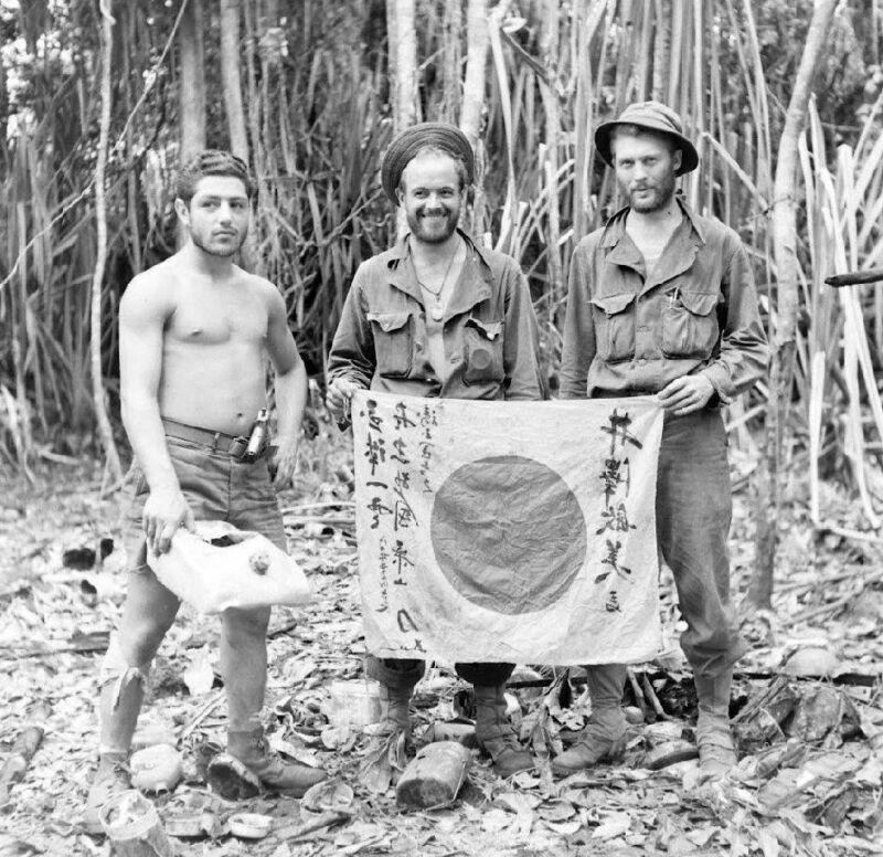 WW2 Photo WWII Australian Soldiers Captured Japanese Flag  World War Two /1451
