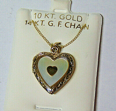 10k Gold Mother of Pearl Heart Locket 10 KT Gold Pendant Charm Love Your Mom 10k Gold Mother Of Pearl