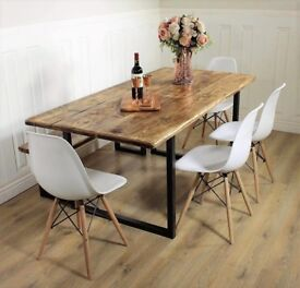 Dining Table Industrial 6 8 seat chairs solid wood rustic vintage kitchen handmade Britain bench
