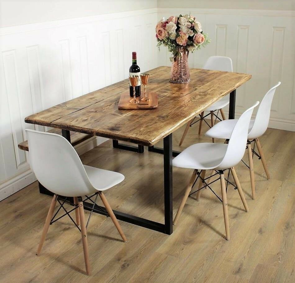 Solid wood industrial dining table 6 8 seat bench metal for Unique wood kitchen tables