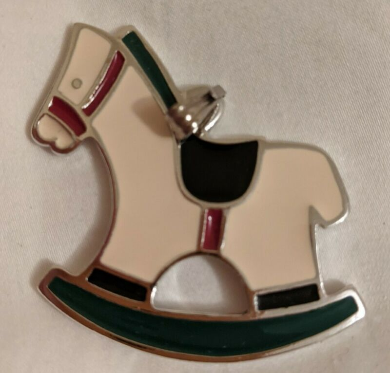 Wallace Silversmiths Solid Pewter Rocking Horse Christmas Cookie Ornament 075316