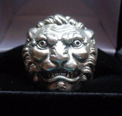 STERLING SILVER LION RING EXTRA LARGE LION SILVER RINGS CUSTOM HANDMADE 925