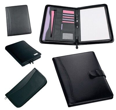 A4 Executive Black Conference Folder Zip Calculator Pad 4d Ring Binder Work New