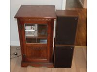 Old Charm Hi Fi Cabinet FREE Acoustic Research Speakers, CD's Sharp CD Player
