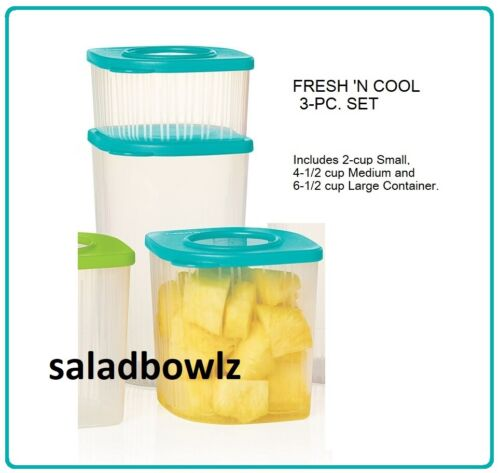 TUPPERWARE New FRESH N COOL VARIETY SET of 3 Containers Small Medium & Tall