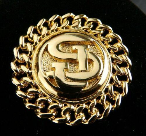 Vintage St. John Gold SJ Logo & Chain Link Style Brooch/Pin