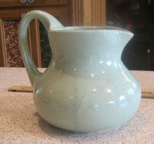 VTG Brush Pottery USA #83 Mint Celadon Green Speckled Stoneware Pitcher Signed