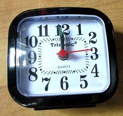Small Trisonic Analog Travel Alarm Clock AA Operated Black