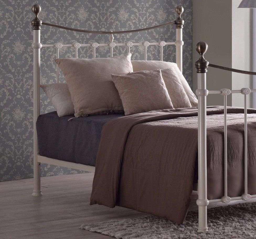 Laura Nancy Ivory Brass Victorian Gothic Metal Bed Frame 5ft King