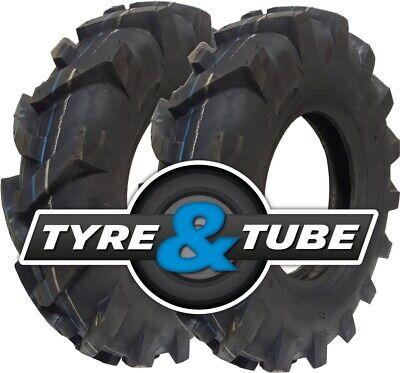 2x 4.80/4.00-8 Tyres Only Chevron Rotovator Tractive Tractor Rotavator Tread