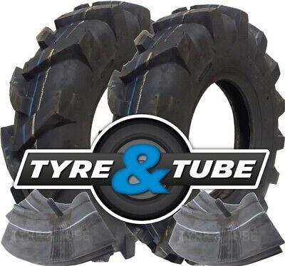 2x 4.80/4.00-8 Tyre & Tube Chevron Rotovator Tractive Tractor Rotavator Tread