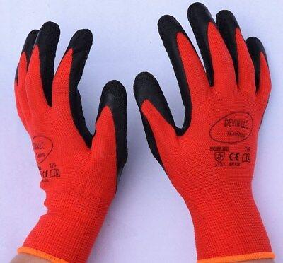 13g Red Work Gloves Wblack Crinkle Texture Latex Coat Builders Garden Sml