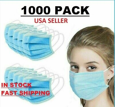 1000 Pcs Face Mask Surgical Dental Disposable 3-ply Earloop Mouth Cover New