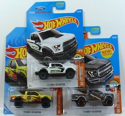 HOT WHEELS 3- 2017 FORD F-150 RAPTOR VARIATIONS 2016-2017-2018 HOT TRUCKS 1/64