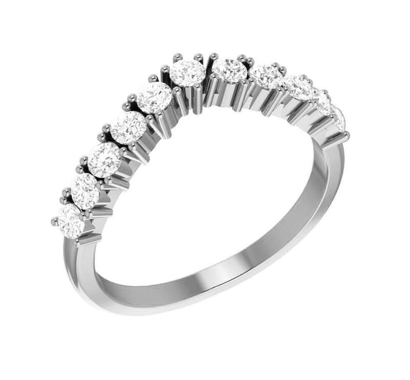 VS1 E Natural Round 0.40 Ct Diamond Engagement Ring 14K White Solid Gold 3.75 MM