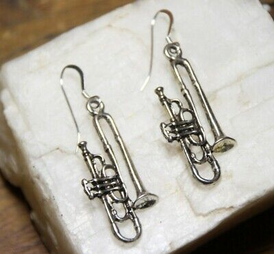 Trumpet Earrings Musical Instrument 925 sterling silver hooks pewter charms