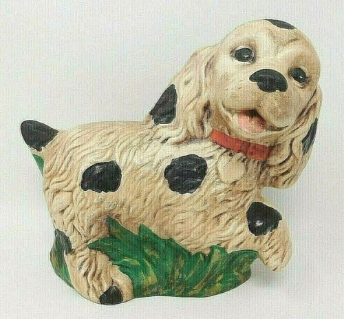 "Vintage Ceramic Puppy Dog VERY CUTE! 8"" Tall Spotted"