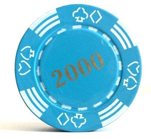 Refillable 2000 Poker Chip Butane Cigarette Lighter - Blue