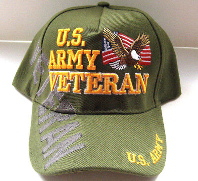 U.S. ARMY VETERAN Cap/Hat w/Flag & Eagle O D Green Military Free Shipping