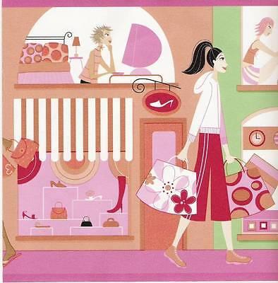 Girls Shopping Wallpaper Border / Young Ladies Decor